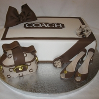 Coach Bag Shoebox & High Heels Shoebox is cake. Coach purse I carved a piece of styrofoam and covered it with fondant.