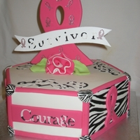 Shannon's Fight Survived Chemo Shannon's Survivor cake after her chemo! Love ya Doc :~) Cancer ribbon I cut out of luan board and covered in fondant. The piece the...