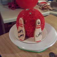 Bowling Ball Cake With Cookie Pins