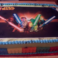 Lego Cake lego star wars cake, the lego pieces are chocolate made from a mold