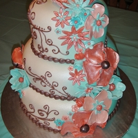 Coral & Mint Floral All flowers fondant/gumpaste. Cake was inspired by a similar cake made by buttercreamfantaisies.