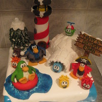 Club Penguin Cake   Club Penguin fondant cake.Everything made out of marshmallow Fondant for my son's 5th B'day.