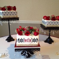 Damask & Roses Wedding Cakes These were very fun to make! The monogram I made from gumpaste/fondant combination.