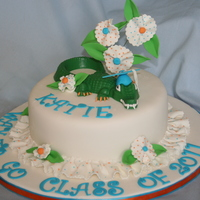 Pretty Gator Cake   White Fondant with fabric style flowers and leaves. Gator is made of candy from a mold.