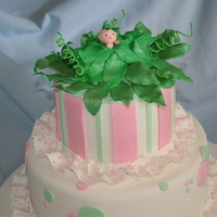 Sweet Pea   2 tiered covered in fondant with gumpaste leaves and pea pod.