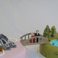 Bronze Wedding Anniversary Cake Bridge