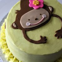 Monkey Birthday Cake For 1 Year Old Made with cream cheese frosting and fondant monkey