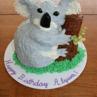 Koala Cake This little guy was made with chocolate buttermilk cake, vanilla buttercream and RKT ears, arms, and legs. The trunk was also RKT with...