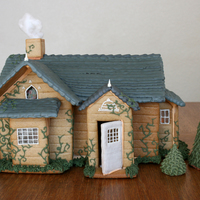 "Breaking Dawn Cottage Twilight Breaking Dawn part 2 wedding cottage. Made from durable gingerbread, royal icing, candy ""glass"" windows, and fondant..."