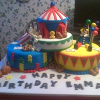 Emma's Carnival Carnival themed cake. All edible, made out of fondant.