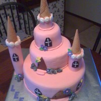 Princess Castle Castle for another princess. Cake covered in fondant. Turrets made out of fondant with ice cream cone tops.
