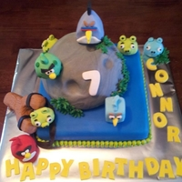 Angry Birds Space All of the birds and pigs were made out of rice krispie treats sitting on top of fondant covered cake.