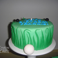 Three Golf Cakes Three cakes, fondant decor, on a three-cake stand. Top cake is vanilla cake with strawberry buttercream, second cake is chocolate cake with...