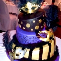 Masquerade Cake Purple, Gold, Black Maskquerade topsy turvy cake. With gumpaste masks.