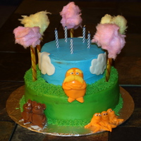 The Lorax  Lorax cake for my son's birthday. Truffula tufts are made from cotton candy, but had to be added last minute, as they melt within an...
