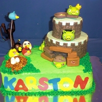 Angry Bird Birthday Cake   A birthday cake iced with buttercream and fondant accents and gumpaste bird and pig figures.