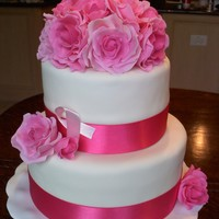 Breast Cancer Survivor Birthday Cake A white two tier fondant cake with pink fondant roses. Rose centers are dusted to a darker pink. A light pink ribbon was added to honor the...