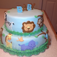 Jungle Themed Baby Shower Cake This cake was made for a jungle themed baby shower. Customer loved it!