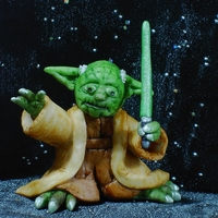 "'yoda' From Starwars 4"" Jedi Master Yoda made from sugar paste for birthday cake, edible gel paints."