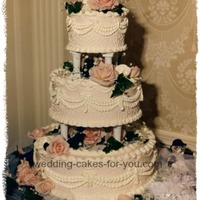 Victorian Style Wedding Cake With Pillars Victorian style wedding cake with pillars.