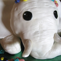 White Baby Elephant This is a 3D white baby elephant cake