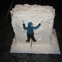 Ice Climber Cake This is a 4x6x10 cake frosted all in buttercream. I made it for my brother, an avid ice climber. This was my first fondant figure, and I...