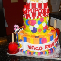 Fair Cake I made this cake for our county fair. I won first place for this entry. I wanted to incorporate fair themed items into cake. The candy...