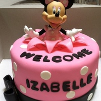 Minnie Mouse 7 inch strawberry cake, toy on top