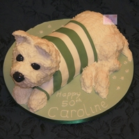 Westie In Celtic Top West Highland White terrier. The body is cake and the head, legs and tail are RKT.