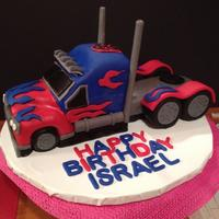 Optimus Prime Truck Cake My son wanted a Optimus Prime Truck cake for his birthday. First time making a 3D vehicle cake!