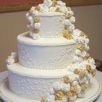 """old School"" Wedding Cake   Buttercream Frosted with royal icing roses"