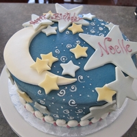 Moon And Stars   Covered in buttercream with fondant/tylose decorations and airbrushed background TFL