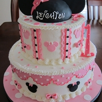 Minnie In Pink Buttercream frosted with fondant decorations. Hat rkt