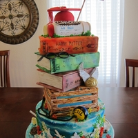 Key West High School Graduation - Fla.  This grad cake was in celebration of 5 great young adults. One a spear fisherman (bottom underwater tier, crab trapper,Harry Potter - book...