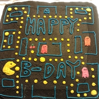 Pac-Man Made this for my sons 6th birthday. Chocolate cake with chocolate buttercream icing.