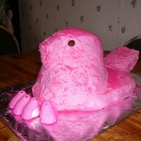 Pink Peep Chocolate cake with white chocolate buttercream icing.