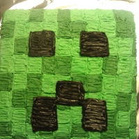 Minecraft Creeper Chocolate cake with buttercream icing. Minecraft is a game that is out right now for the PC. This is just the head of a creeper.