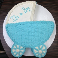 Baby Boy Carriage   Baby CarriageThis is a 12 inches round cake. Cover with buttercream icing.