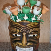 Tiki Cake Pop Display Another KATHIESKREATIONS! This is a Cake Pop display for a party with a theme 'Tiki Twilight'. Cake pops are actually cocktail &#...