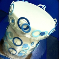 Blue Circles   Blue circles upside down tiered cake