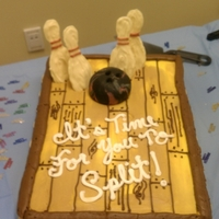 Split! Retirement cake for a woman who likes bowling.