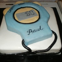 Stopwatch Cake 60th birthday cake for an athletics trainer, cake all the way through