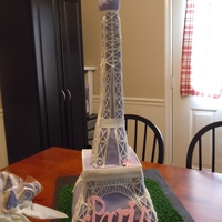Paris' Eiffel Tower Birthday This cake was for a little girl's (named Paris) first birthday. The whole theme of the party was Eiffel Towers. She had a small smash...