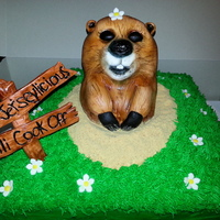 Happy Groundhogs Day I Loved Doing This Cake The Cake Itself Is Vanilla With Vanilla Bc The Groundhog Is A Rkc Covered In Fondant And Ai  Happy Groundhogs Day! I loved doing this cake! The cake itself is vanilla with vanilla bc. The groundhog is a rkc covered in fondant and...