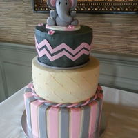 Chevron Elephant Baby Shower I made this cake for my cousin's baby shower. Each tier was a different flavor. I loved making this cake! It was so much fun!