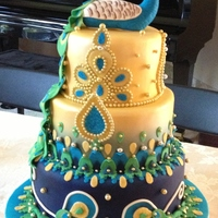 Indian Themed Peacock Cake This is a fake cake as the lucky couple was having two weddings and two receptions. I think this is the most time I have ever spent on a...