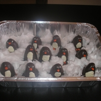 Penguin Cakeballs   Penguin cakeballs, candy coated sunflower beak and feet