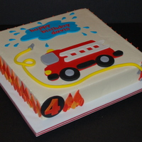 "Firetruck Birthday Cake Firetruck cake for a little boy celebrating his 4th birthday. 12"" square cake frosted in buttercream. Fondant and gumpaste decorations..."