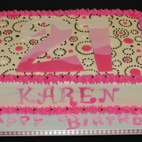 21St Birthday Cake Sheet cake to celebrate a 21st birthday party. It's an 8x11 cake frosted in buttercream with buttercream piping in brown and pink...
