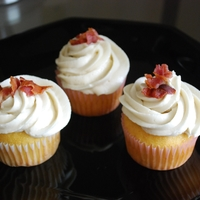 Maple Bacon Cupcakes I was challenged - & accepted the challenge! Vanilla cupcakes with maple buttercream & a sprinkling of bacon for garnish.